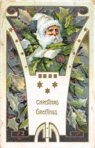 F98/ Santa Claus Christmas Postcard c1910 White Suit Holly 27