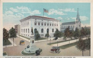 BALTIMORE, Maryland, 1910-1930s; Watson Monument, Maryland Institute, Church