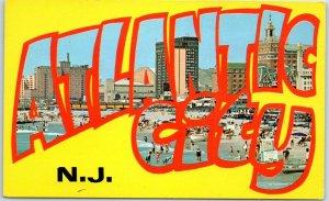 Vintage ATLANTIC CITY NJ Large Letter Postcard Bathing Beach Scene CHROME c1950s