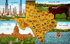 Texas Map With Oil Field Longhorn Steer & More 1944
