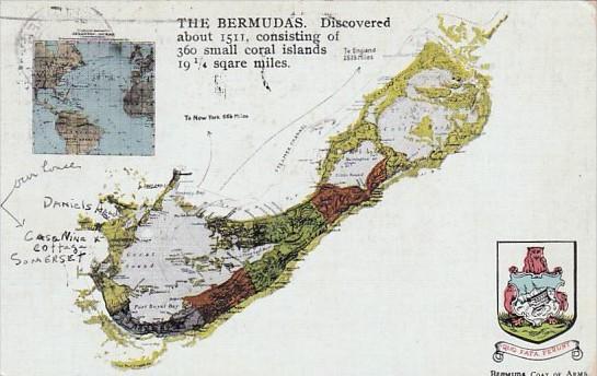 Bermuda Map Of The Bermudas 1930