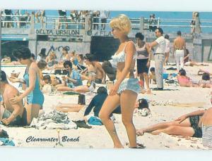 Pre-1980 RISQUE BIKINI GIRL AT BEACH Clearwater Beach - Near Tampa FL G5885