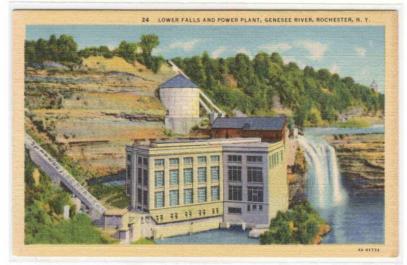 Lower Falls Power Plant Genesee River Rochester New York postcard