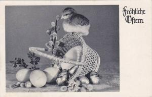 Frohliche Oltern, Chick on a toppled over basket, eggs and chocolate, PU-1956