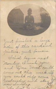 G45/ Penn Yan New York RPPC Postcard 1906 Woman with Dog Pet