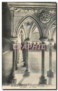 Old postcard Le Mont St Michel Abbey The Cloister