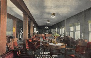 Lobby of Pine Beach Inn, Pine Beach, New Jersey, Early Postcard, Unused