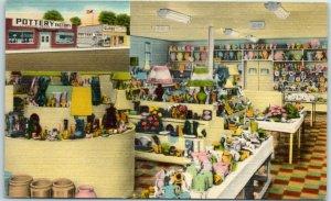 Springfield, Illinois Postcard THE GLOBE POTTERY 1021-29 Wabash Ave. Linen 1954