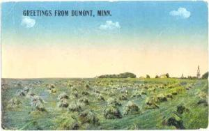 Field, Greetings from Dumont, Minnesota, MN, 1915 Divided Back