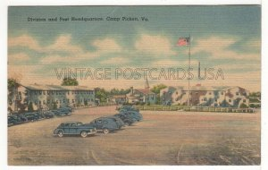 Division & Post Headquarters at Camp Pickett VIRGINIA Vintage Linen Postcard