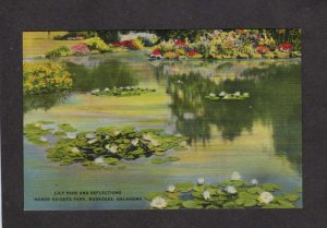 OK Lily Pads Pond Honor Heights Park Muskogee Oklahoma Linen Postcard