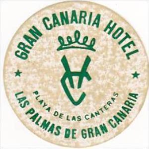 SPAIN LAS PALMAS GRAN CANARIA HOTEL HOTEL VINTAGE LUGGAGE LABEL