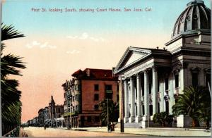 San Jose CA~Justitie Dedicata~Courthouse Columns~Dome (Fire Burned 1931)~c1910