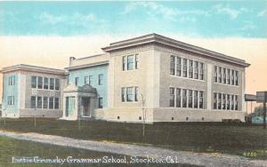 Stockton California~Lottie Grunsky Grammar School & Grounds~c1910 Postcard