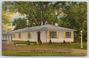 Strongsville Ohio~Elm Haven Motel~Yellow Shutters~Shaded by Trees~1940s Postcard