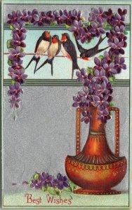 Best Wishes - BIRDS VASE FLOWERS - Vintage - PC -  Postcard