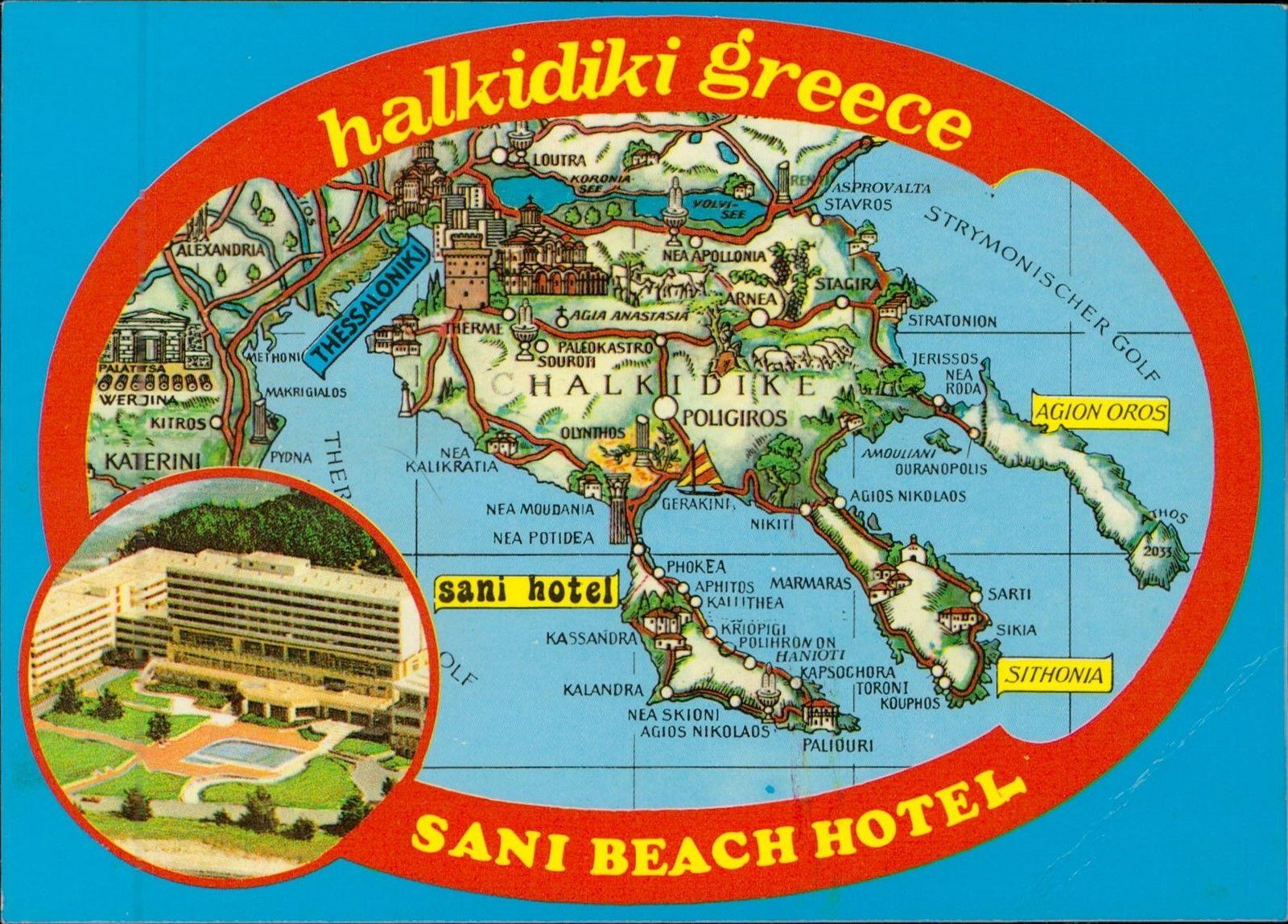 Halkidiki Greece Map Postcard Hippostcard