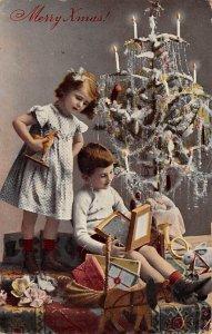 Xmas Trees Post Card Merry Xmas Writing on back