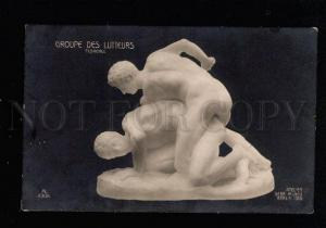 038077 NUDE Young MAN Wrestling of Men Sculpture Vintage PC
