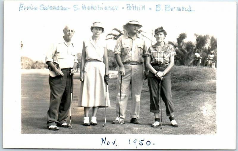 Vintage RPPC Real Photo Postcard GOLF SCENE 2 Couples Mixed Doubles Dated 1950