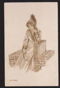 Drawing Of A Pretty Girl With Trunk & Suitcase - Used 1912