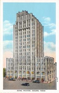 Abilene Texas~Hotel Wooten~ART DECO Building~Artist Drawing~1930 Postcard