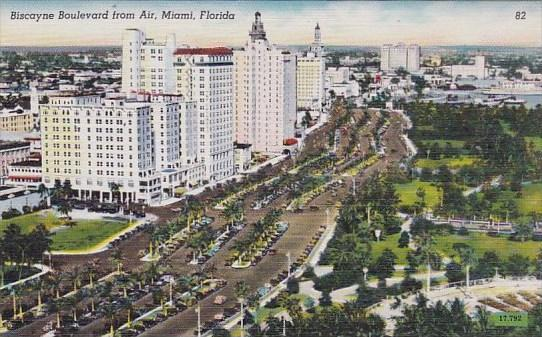 Florida Miami Biscayne Boulevard From Air