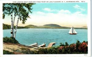 LAKE PLEASANT, NY New York  View of LAKE from RED PINES POINT 1940   Postcard