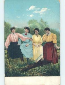 Pre-1907 art nouveau FOUR WOMEN SITTING ON THE FENCE RAIL HL4235