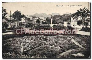 Old Postcard Menton Les Jardins Du Carei