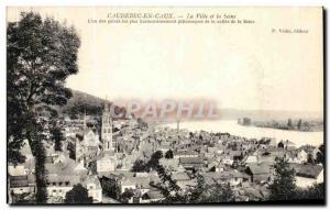Old Postcard Caudebec-en-Caux City and the Seine