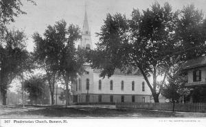 Bement Illinois~Presbyterian Church~House Down Street~1909 CU Williams Photoette