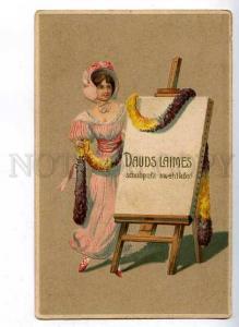 184818 Pretty Lady w/ GREETINGS Happy Vintage EMBOSSED PC
