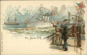 US Navy Ships New York City State of Liberty Kunzli Freres c1900 Postcard