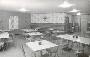 Chillicothe IL~Harmony House Restaurant Interior~Clock~Inez Thompson RPPC 1963