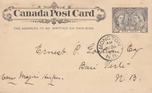 MONCTON , New Brunswick , 1897 ; Postal Card