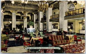 Memphis, Tennessee Postcard The Lobby, HOTEL PEABODY Linen 1959 Cancel