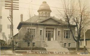 Beach Bryan Ohio Public Library C-1910 RPPC real photo postcard 10497