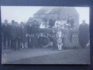 Lincolnshire WEST ASHBY Wedding Group Portrait BRIDE & GROOM Wedding Car Old RP
