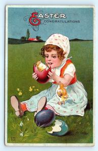 Postcard Easter Congratulations Girl Chicks in Easter Eggs 1913 J18