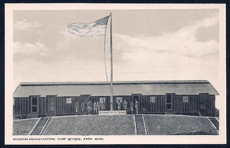 Division Headquarters Camp Devens Ayer MA unused c1930