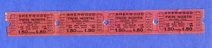 4 Sherwood Twin Drive-In Movie Theatre Tickets, Dayton, Ohio/OH, 1960's?
