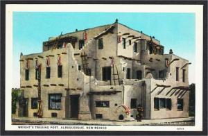 Albuquerque NM Wright's Indian Trading Post White Border Postcard c.1920s