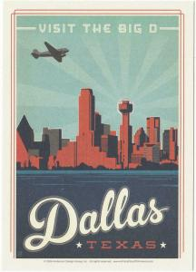 Postcard of Dallas Texas The Big D Travel Poster Style Postcard