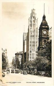 RPPC of Collins Street, Melbourne, Australia with Trolly