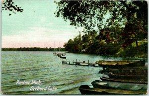 1910s Pontiac, Michigan Postcard ORCHARD LAKE Boat Landing / Shore Scene UNUSED