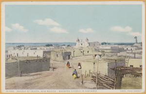 Pueblo of Isleta, New Mexico - Showing Church in Distance - Fred Harvey H-1565