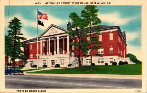 Greenville SC County Court House Postcard unused 1930s/40s