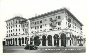 El Centro CA~Hotel Barbara Worth~Shell Gasoline Sign~Real Photo Postcard 1940s