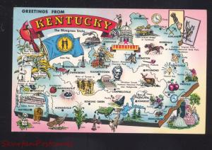 GREETINGS FROM KENTUCKY STATE MAP VINTAGE POSTCARD